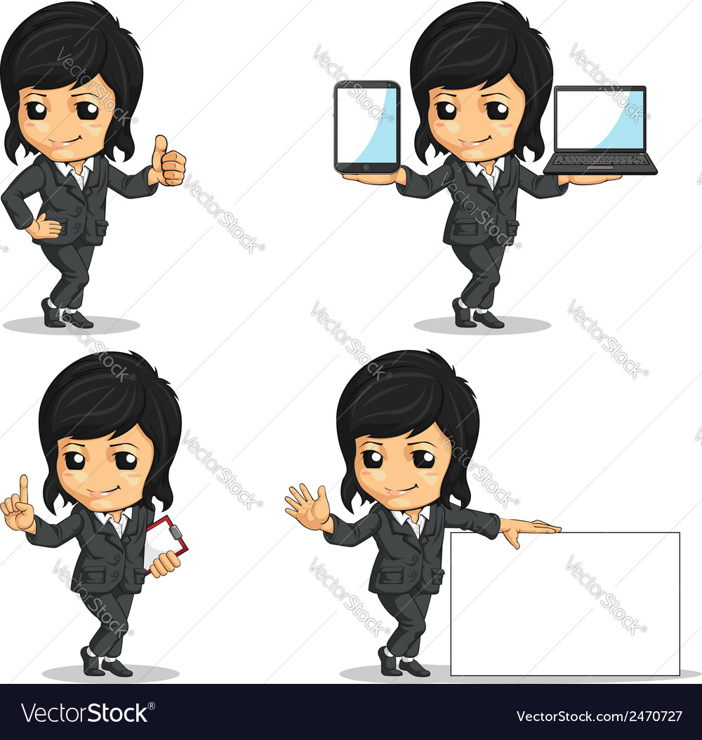 Smiling businesswoman mascot in various poses vector | Price: 1 Credit (USD $1)
