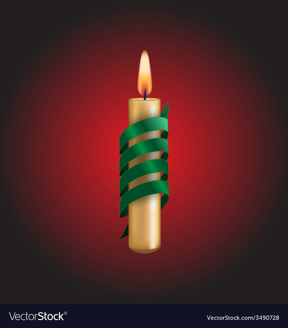 Candle with green spiral tape on red vector | Price: 1 Credit (USD $1)