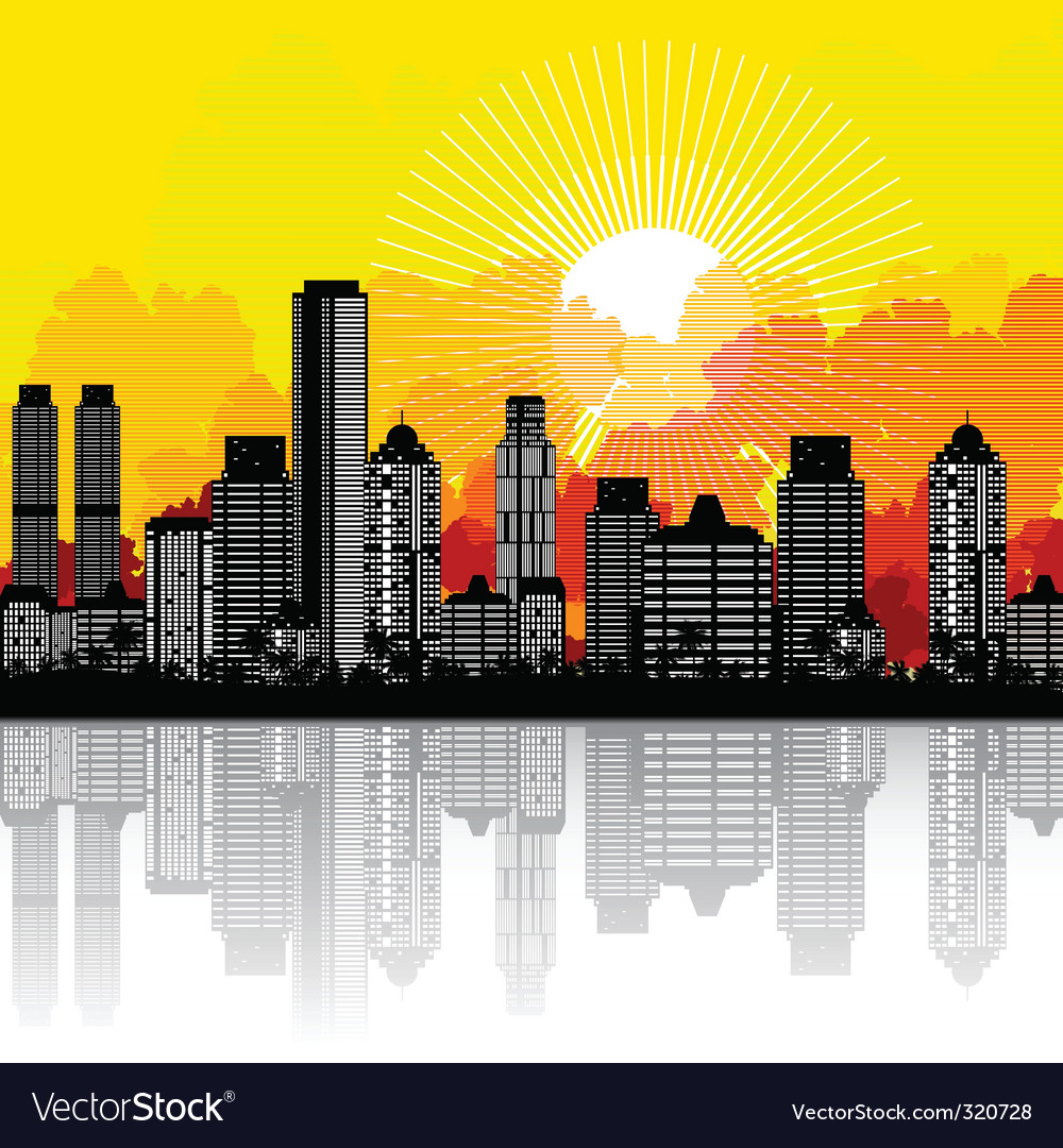 City and sunrise vector | Price: 1 Credit (USD $1)