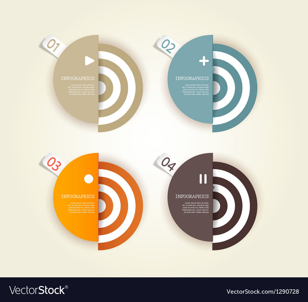 Four colored paper circles vector | Price: 1 Credit (USD $1)