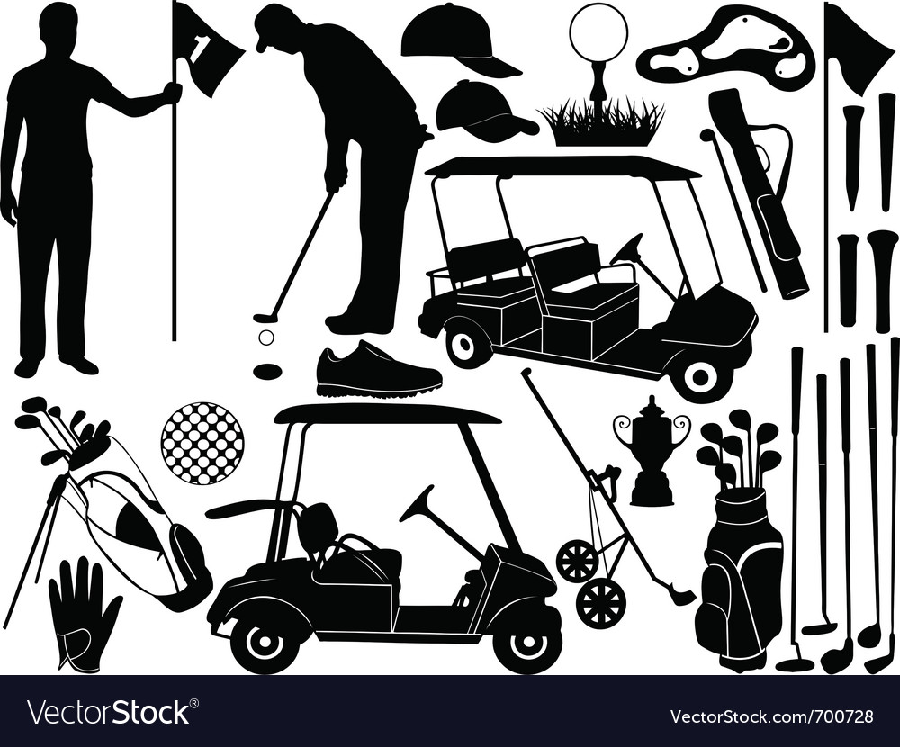 Golf set vector | Price: 1 Credit (USD $1)
