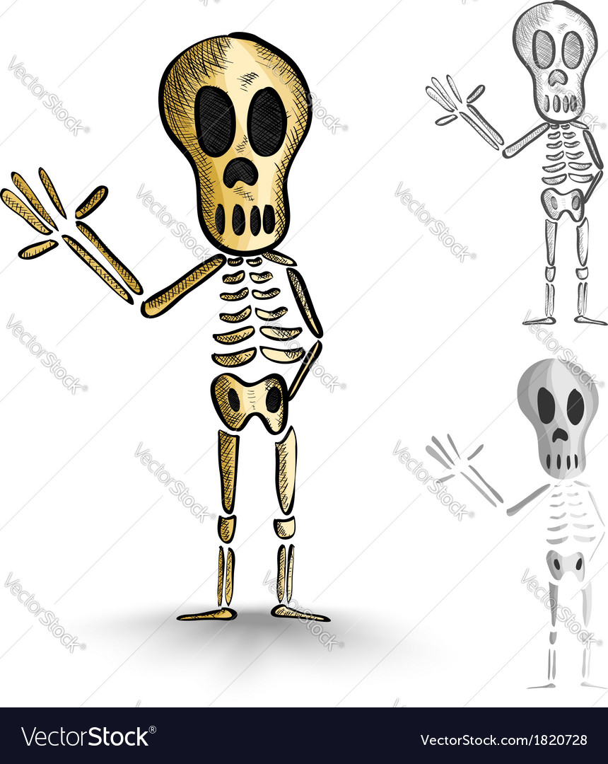 Halloween monsters isolated spooky skeletons set vector | Price: 1 Credit (USD $1)