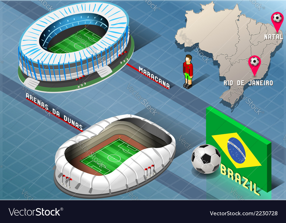 Isometric stadium of natal and rio de janeiro vector | Price: 1 Credit (USD $1)