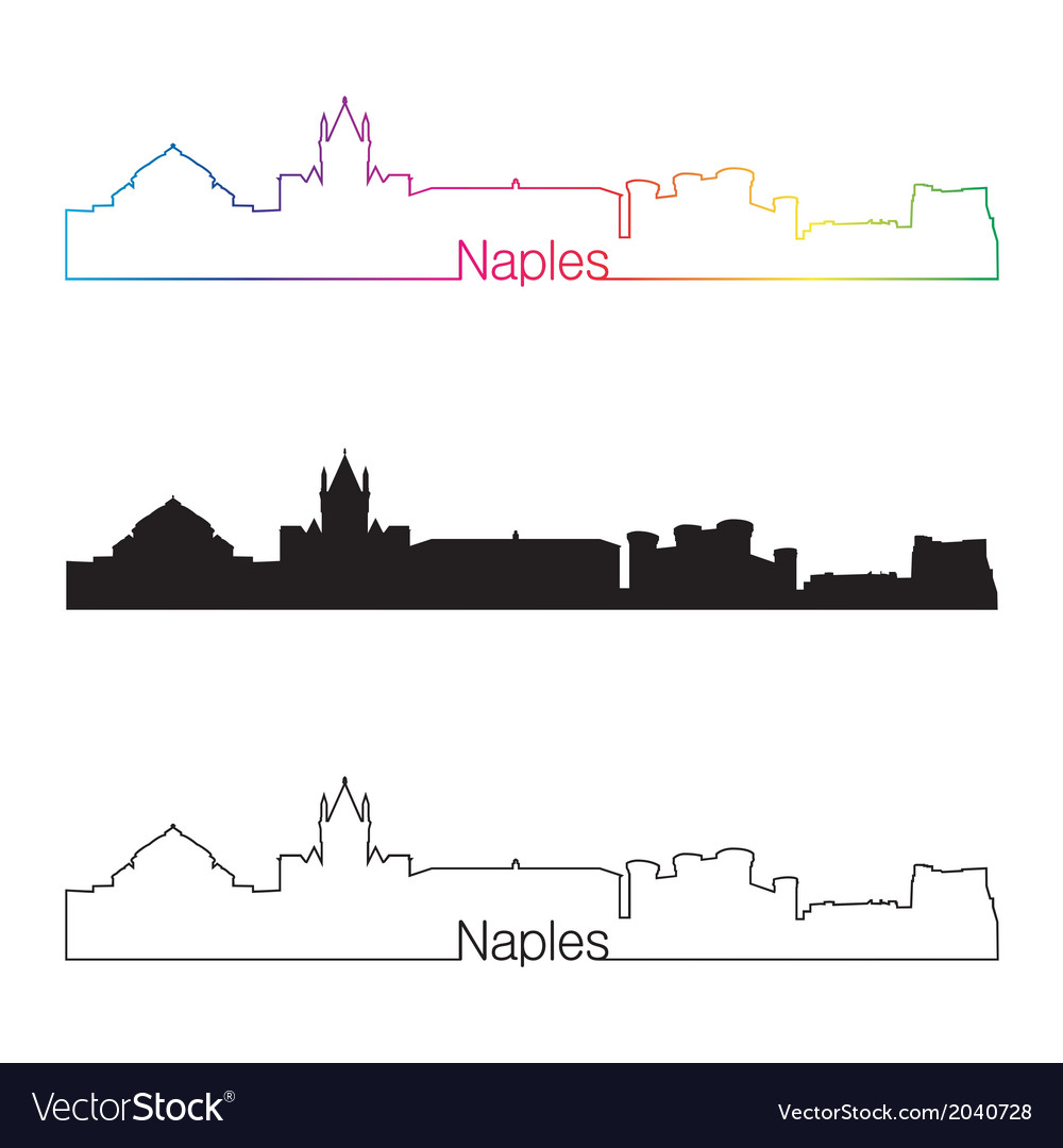 Naples skyline linear style with rainbow vector | Price: 1 Credit (USD $1)