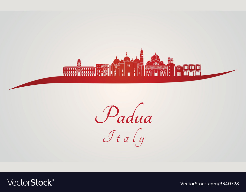 Padua skyline in red vector | Price: 1 Credit (USD $1)