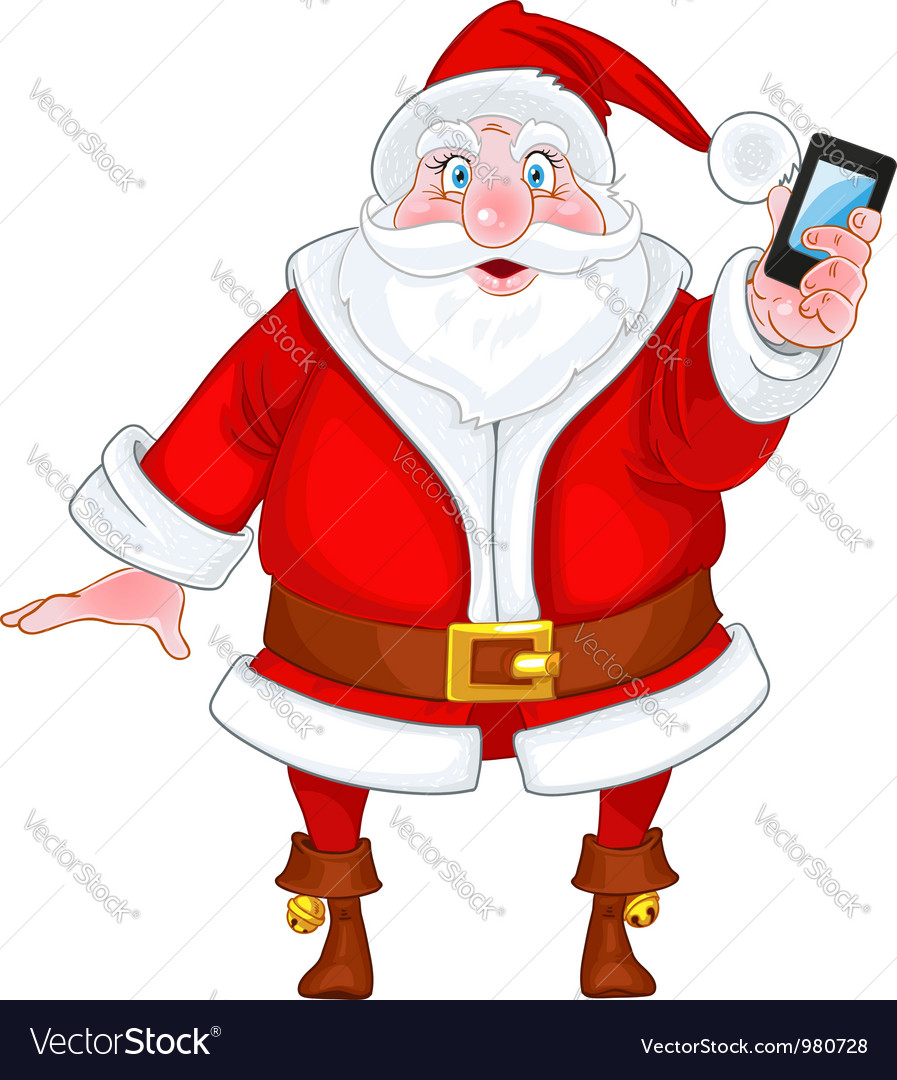 Santa claus with a smart phone vector | Price: 3 Credit (USD $3)