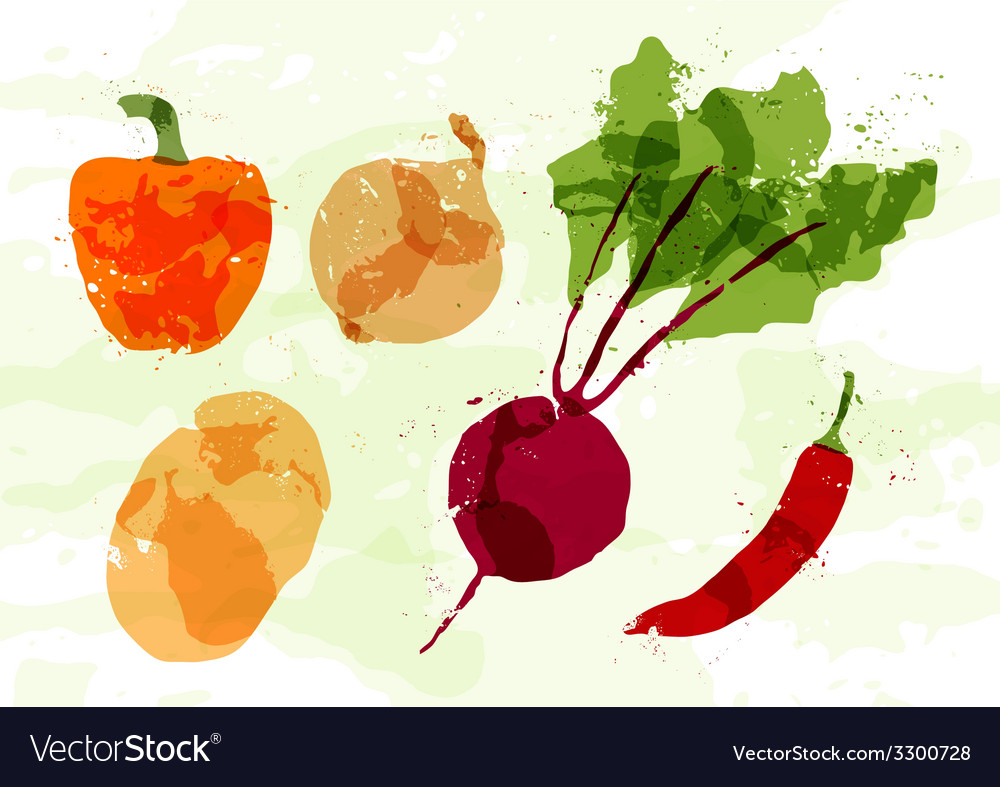 Set of colorful fresh vegetables stains vector | Price: 1 Credit (USD $1)