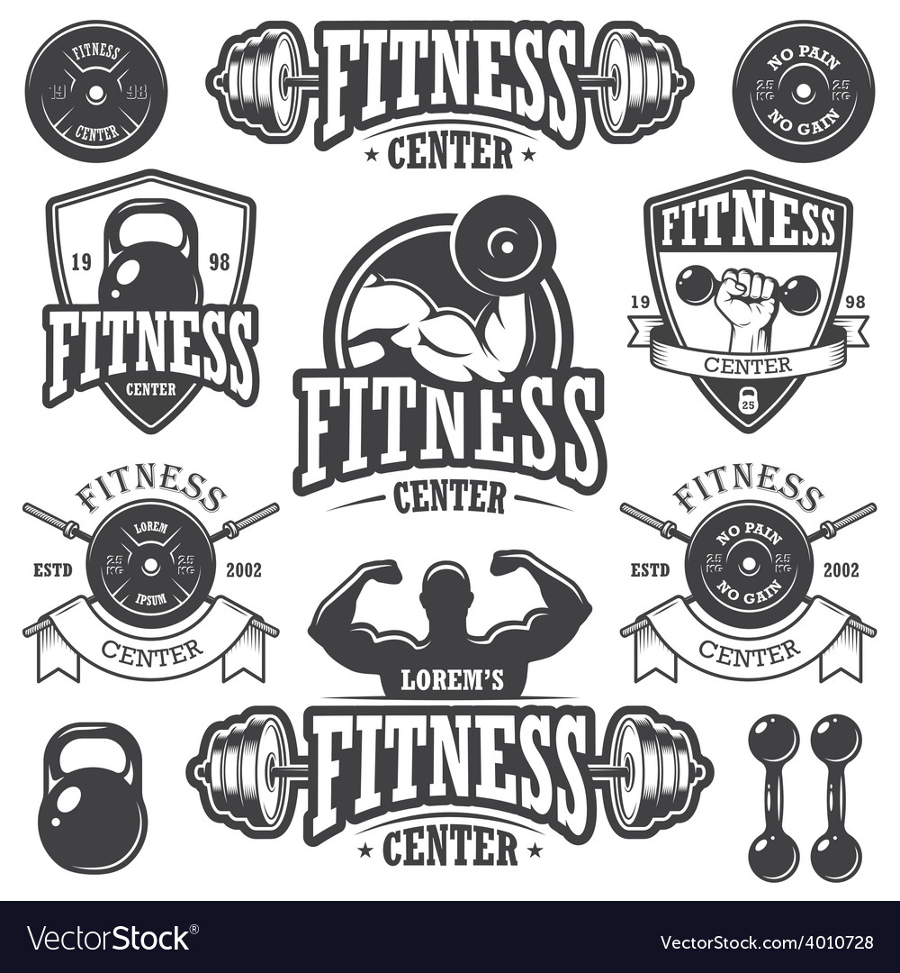 Set of monochrome fitnes emblems vector
