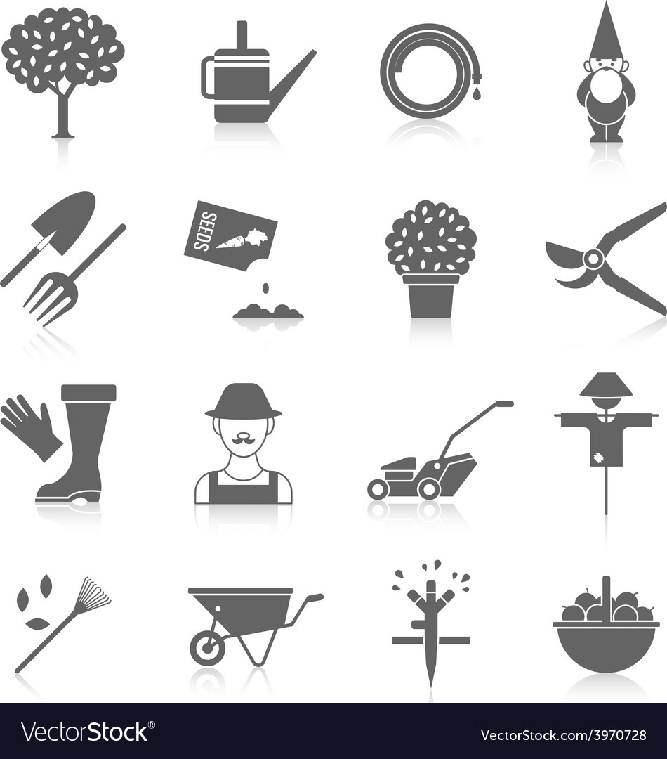 Vegetable garden icons set vector | Price: 1 Credit (USD $1)