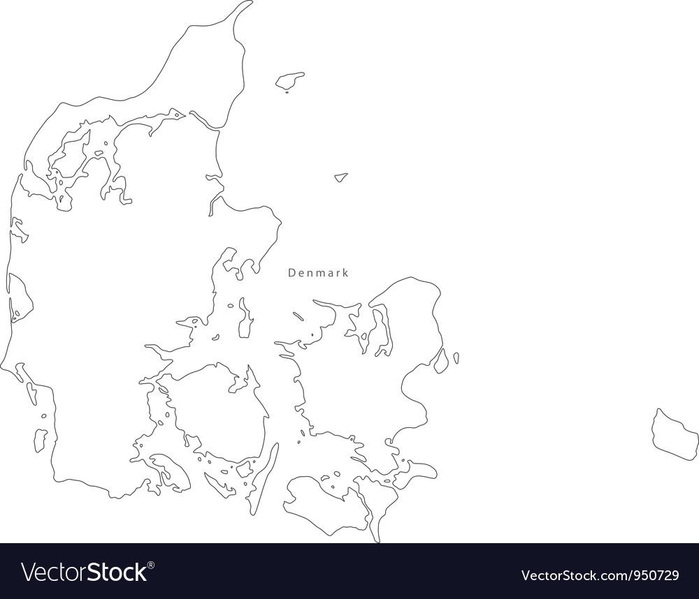 Black white denmark outline map vector | Price: 1 Credit (USD $1)