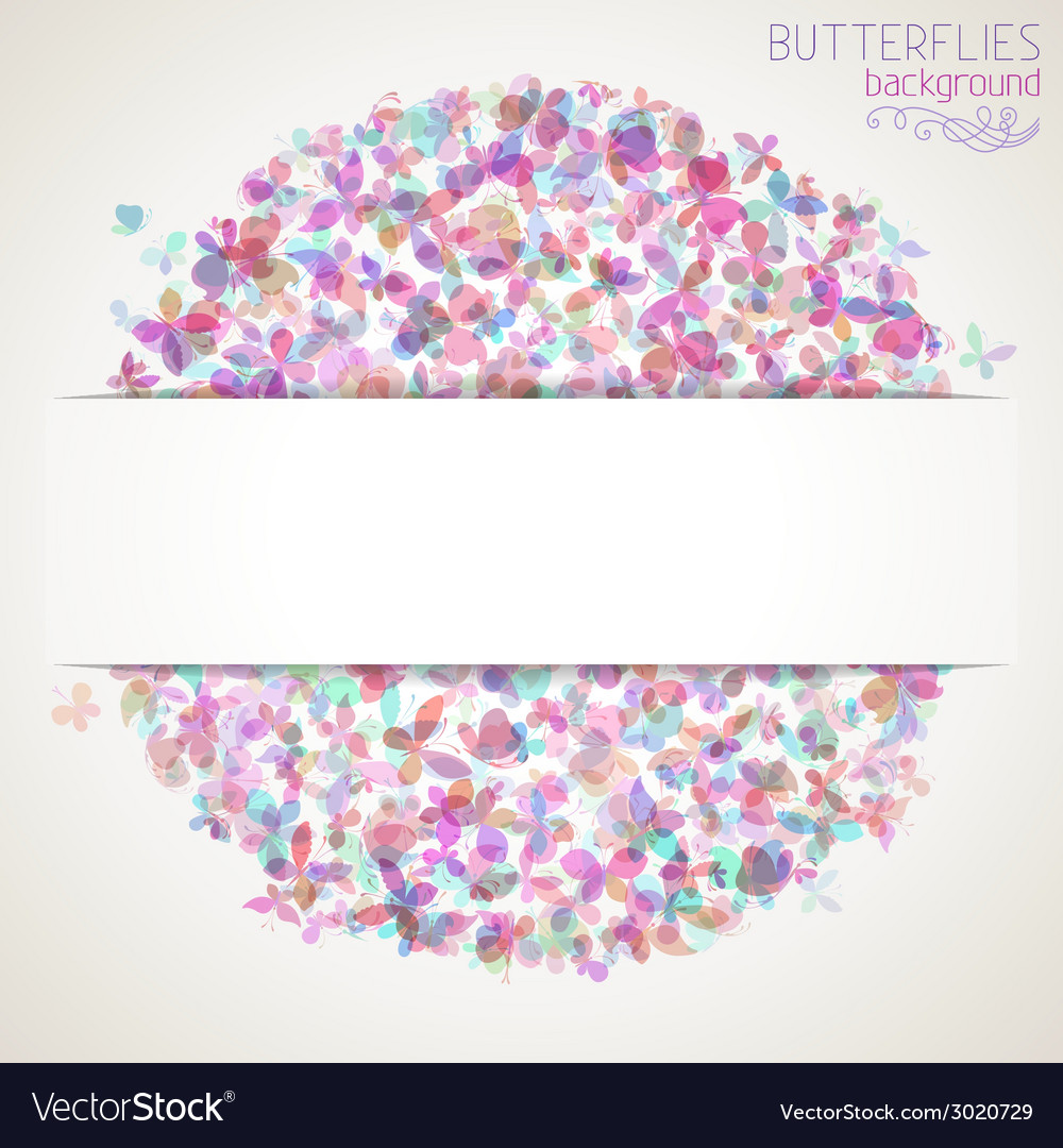 Colorful square butterflies background with white vector | Price: 1 Credit (USD $1)