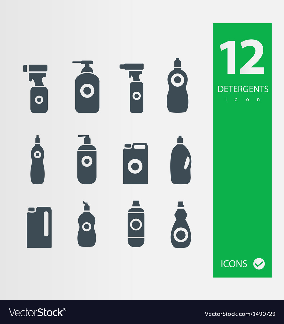 Detergent bottle icon set vector | Price: 1 Credit (USD $1)