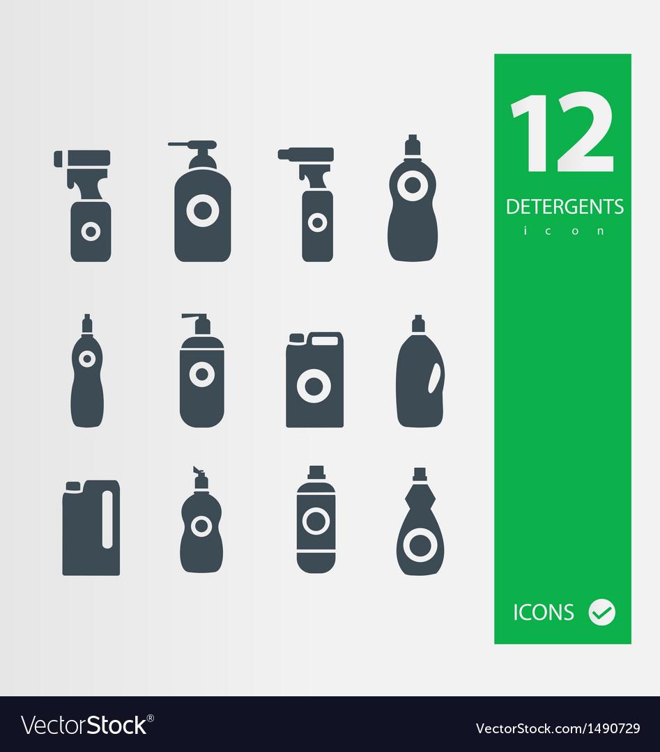 Detergent bottle icon set vector   Price: 1 Credit (USD $1)