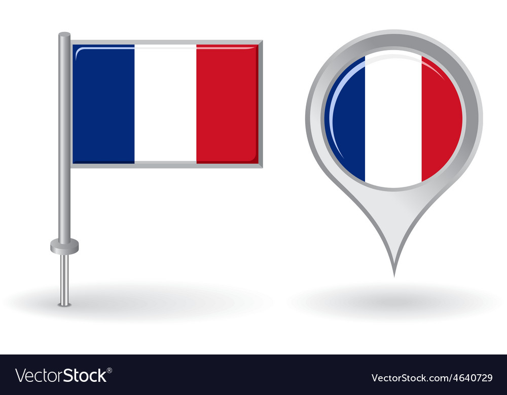 French pin icon and map pointer flag vector | Price: 1 Credit (USD $1)