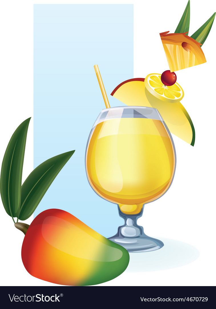 Mango in goblet of juice cocktail smoothie vector | Price: 1 Credit (USD $1)