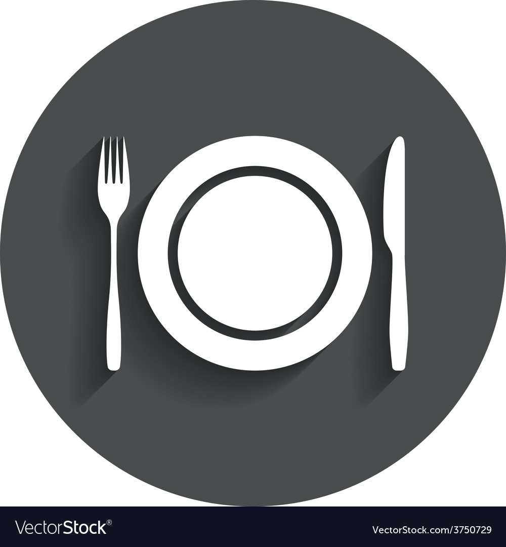 Plate dish with fork and knife vector | Price: 1 Credit (USD $1)