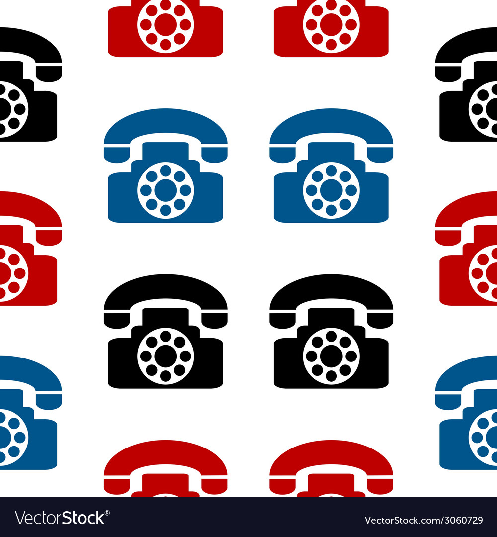 Retro phone symbol seamless pattern vector | Price: 1 Credit (USD $1)