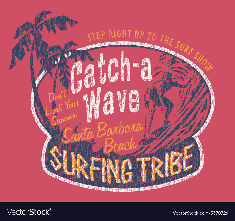 Santa barbara surfing vector | Price: 1 Credit (USD $1)