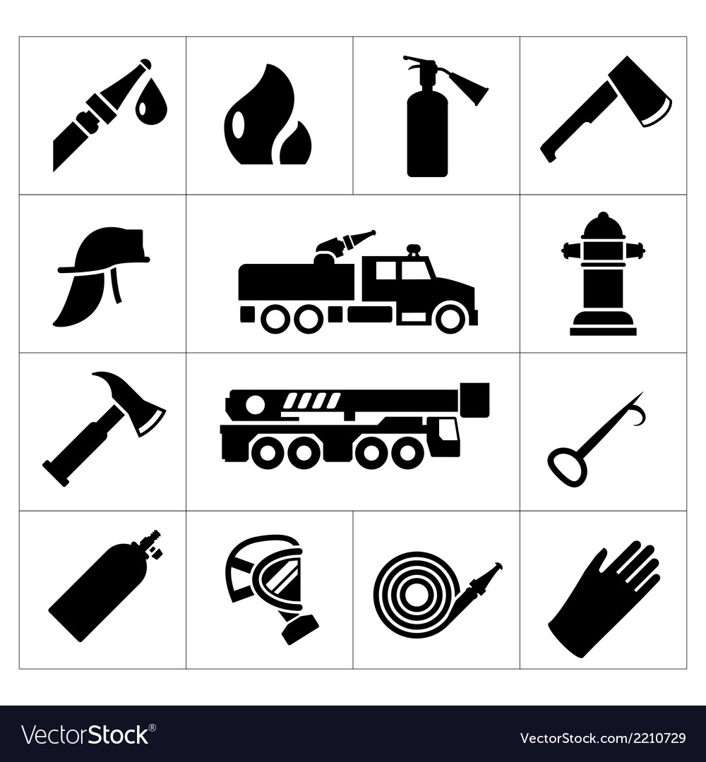 Set icons of firefighter and fireman vector | Price: 1 Credit (USD $1)