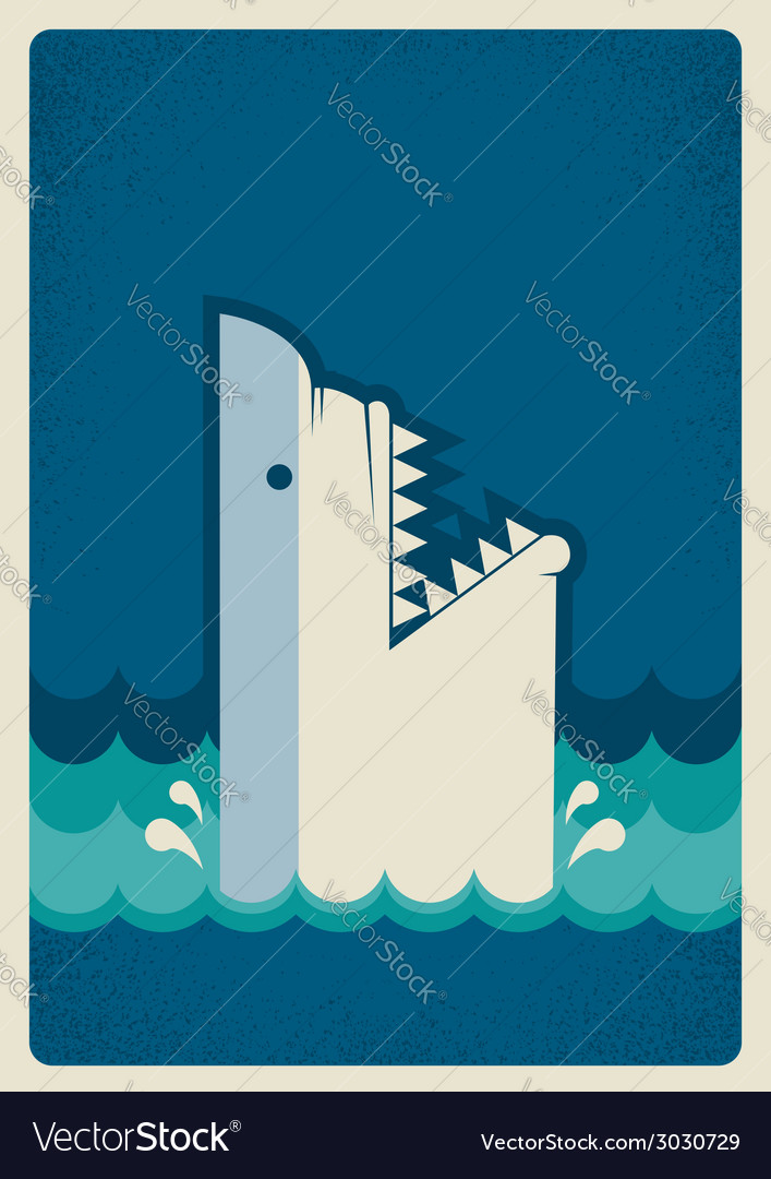 Shark poster background vector | Price: 1 Credit (USD $1)