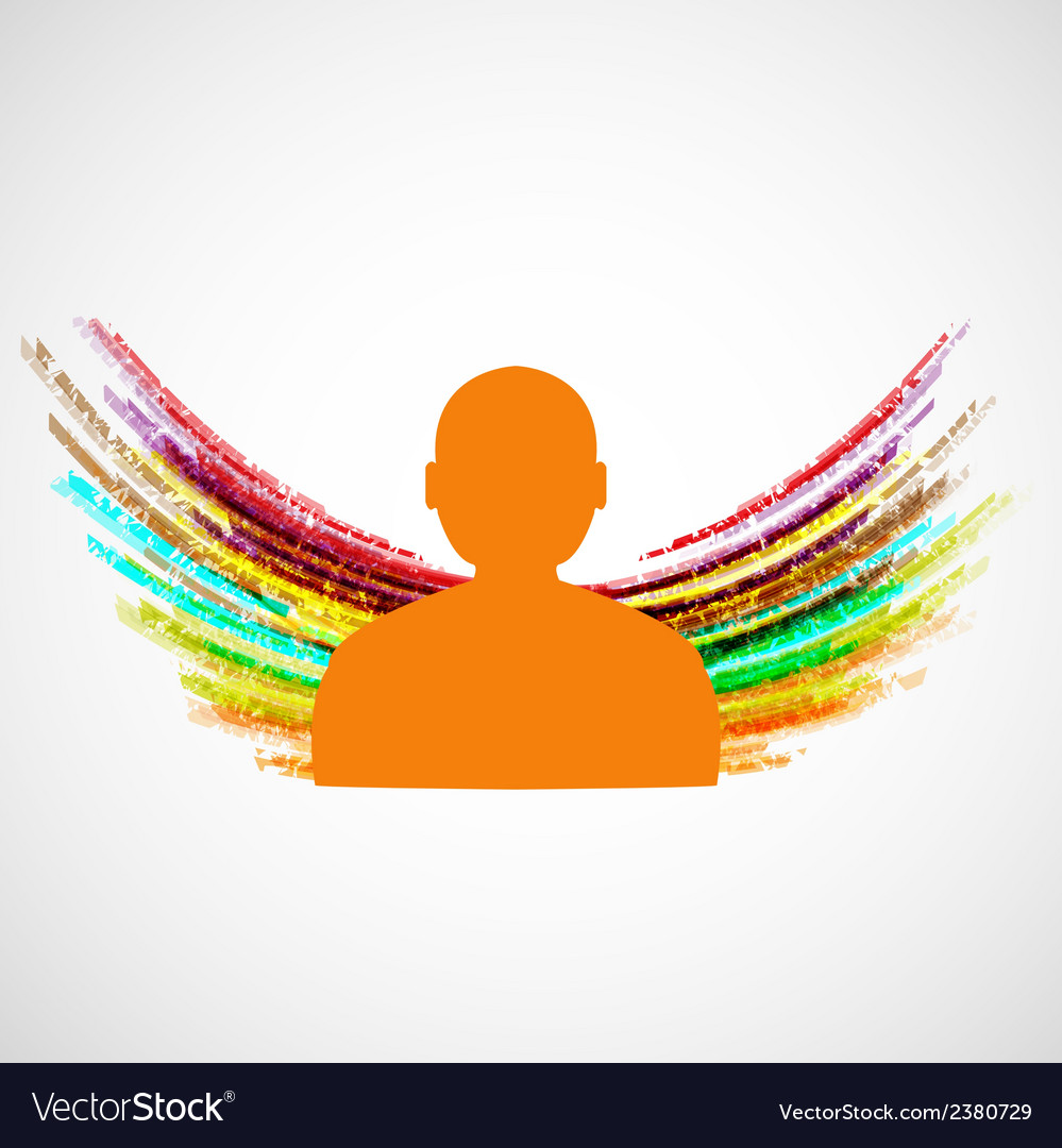 Silhouette of man with colored wings eps10 vector | Price: 1 Credit (USD $1)