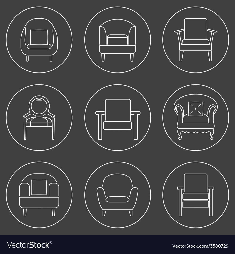 Sofa icons set white line on black background vector | Price: 1 Credit (USD $1)