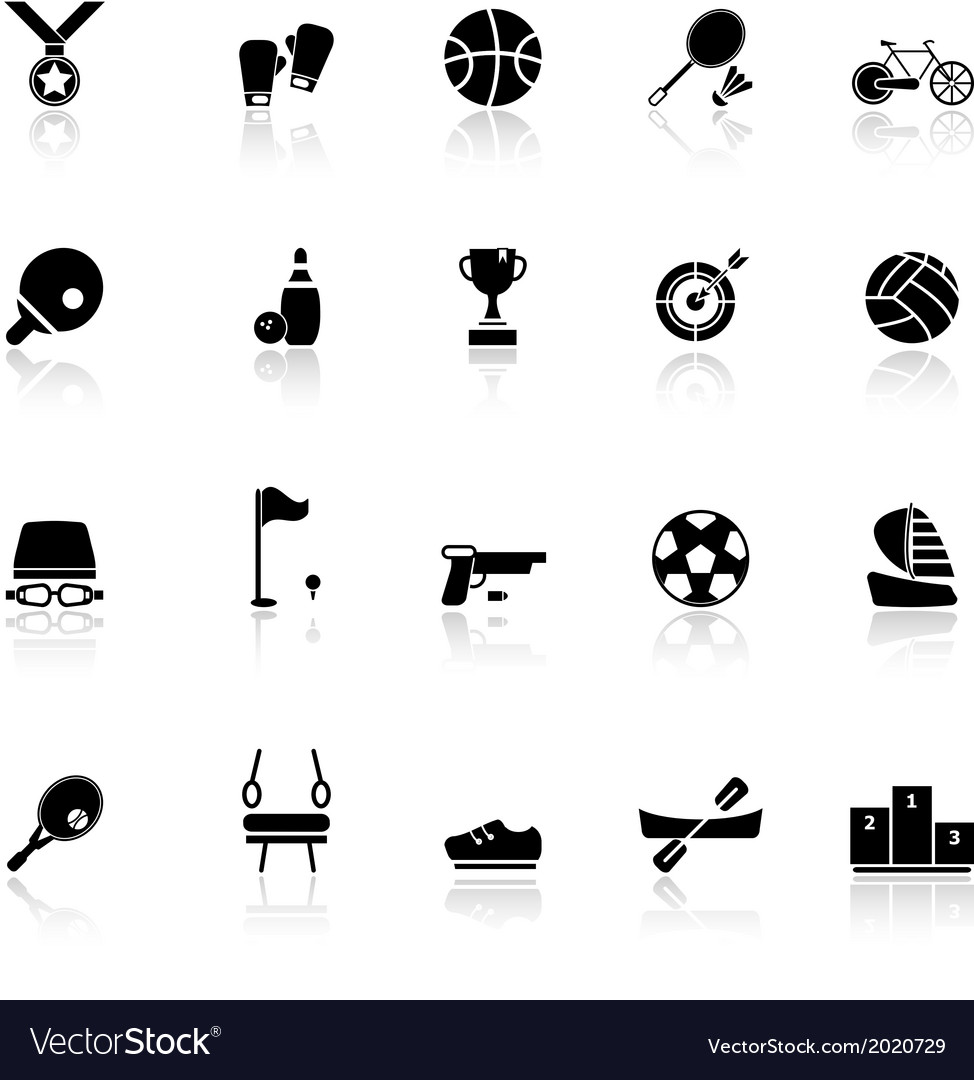 Sport game athletic icons with reflect on white vector | Price: 1 Credit (USD $1)