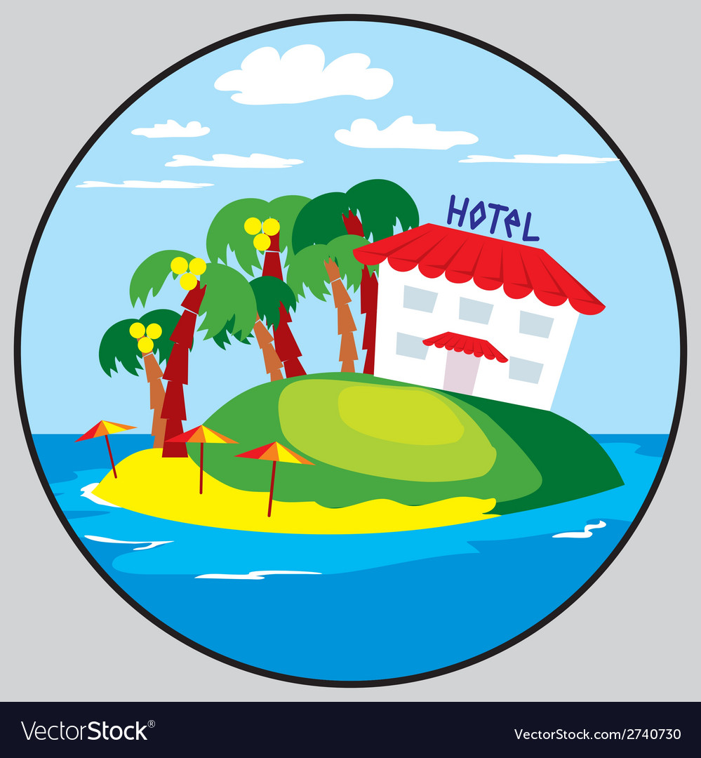 Beach hotel emblem vector | Price: 1 Credit (USD $1)