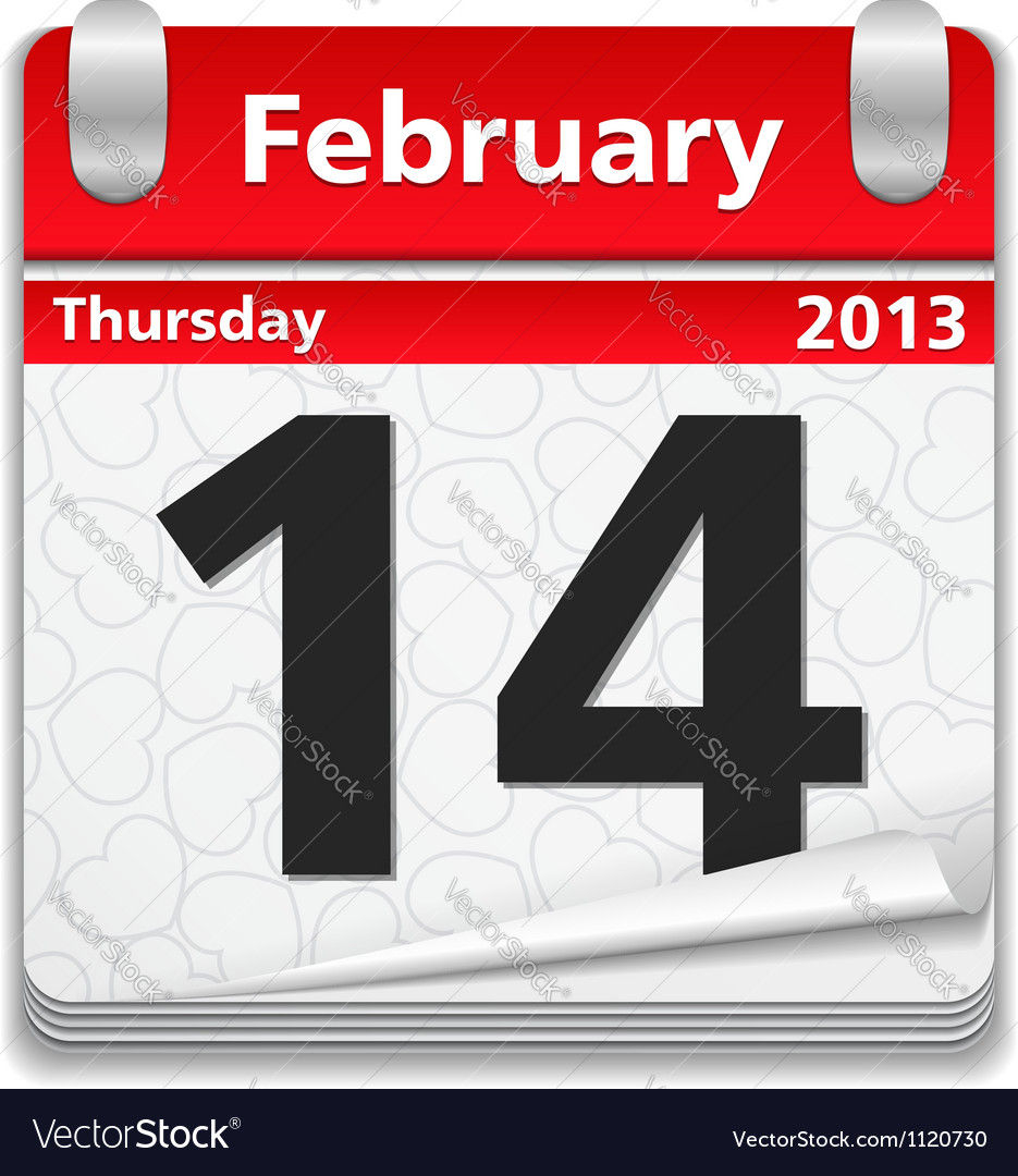 Calendar with 14 february page vector | Price: 1 Credit (USD $1)
