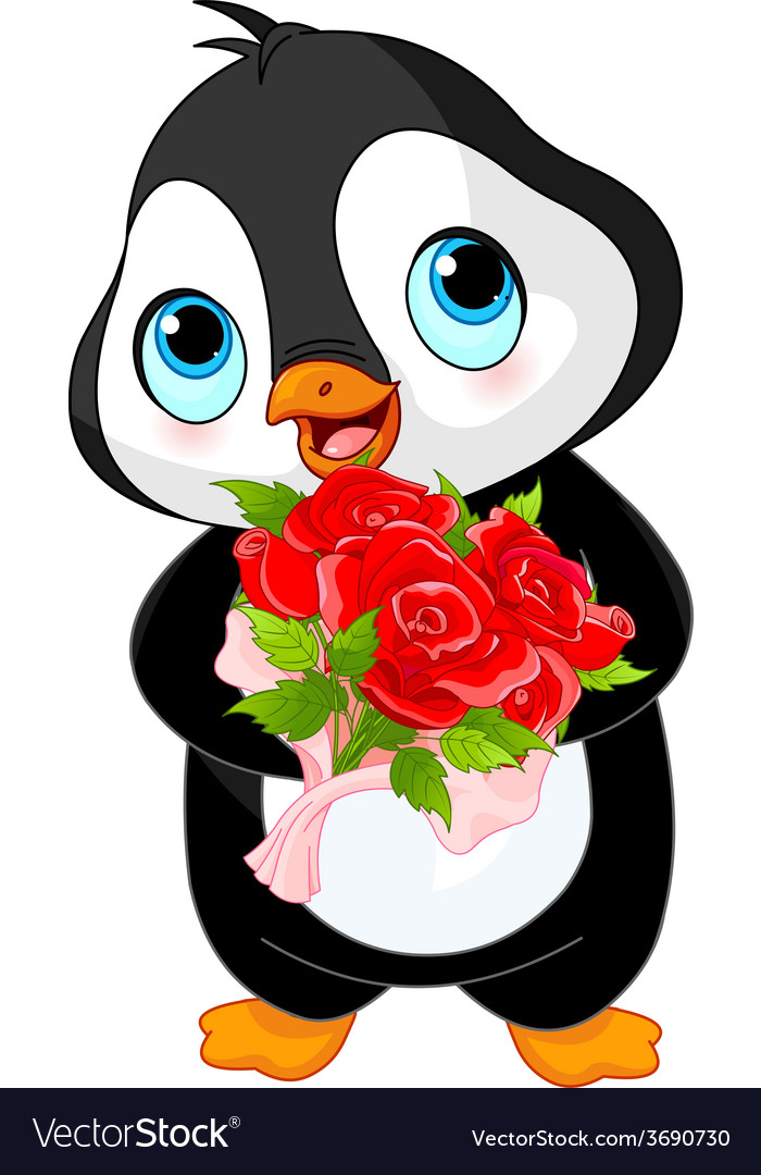 Cute valentine day penguin vector | Price: 1 Credit (USD $1)
