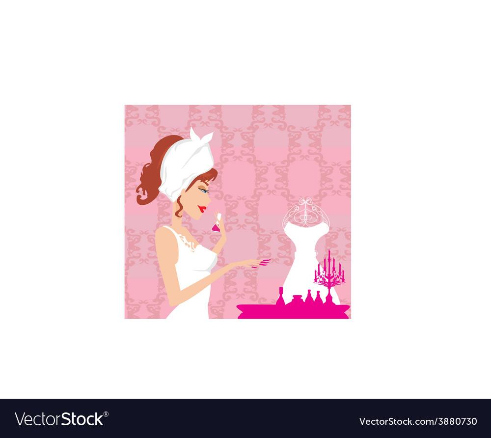 Girl does a manicure vector | Price: 1 Credit (USD $1)