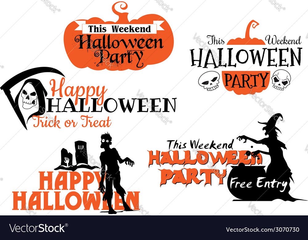 Halloween party banners set vector | Price: 1 Credit (USD $1)