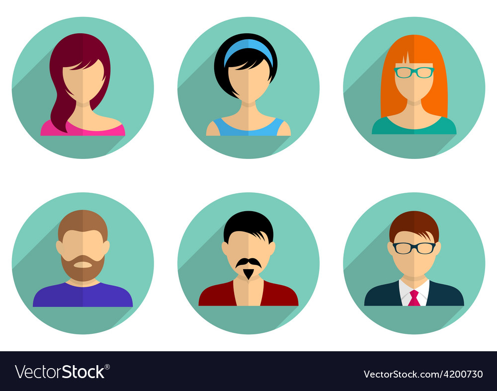Men and women avatar icons vector | Price: 1 Credit (USD $1)