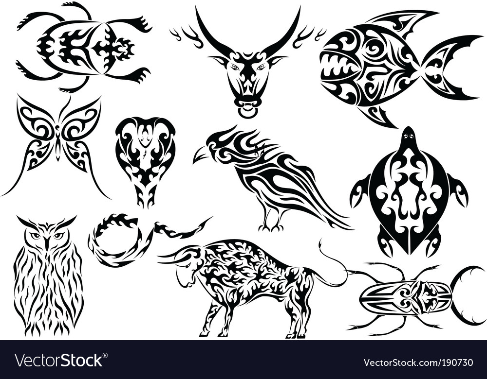 Set of tribal animal tattoos vector | Price: 1 Credit (USD $1)