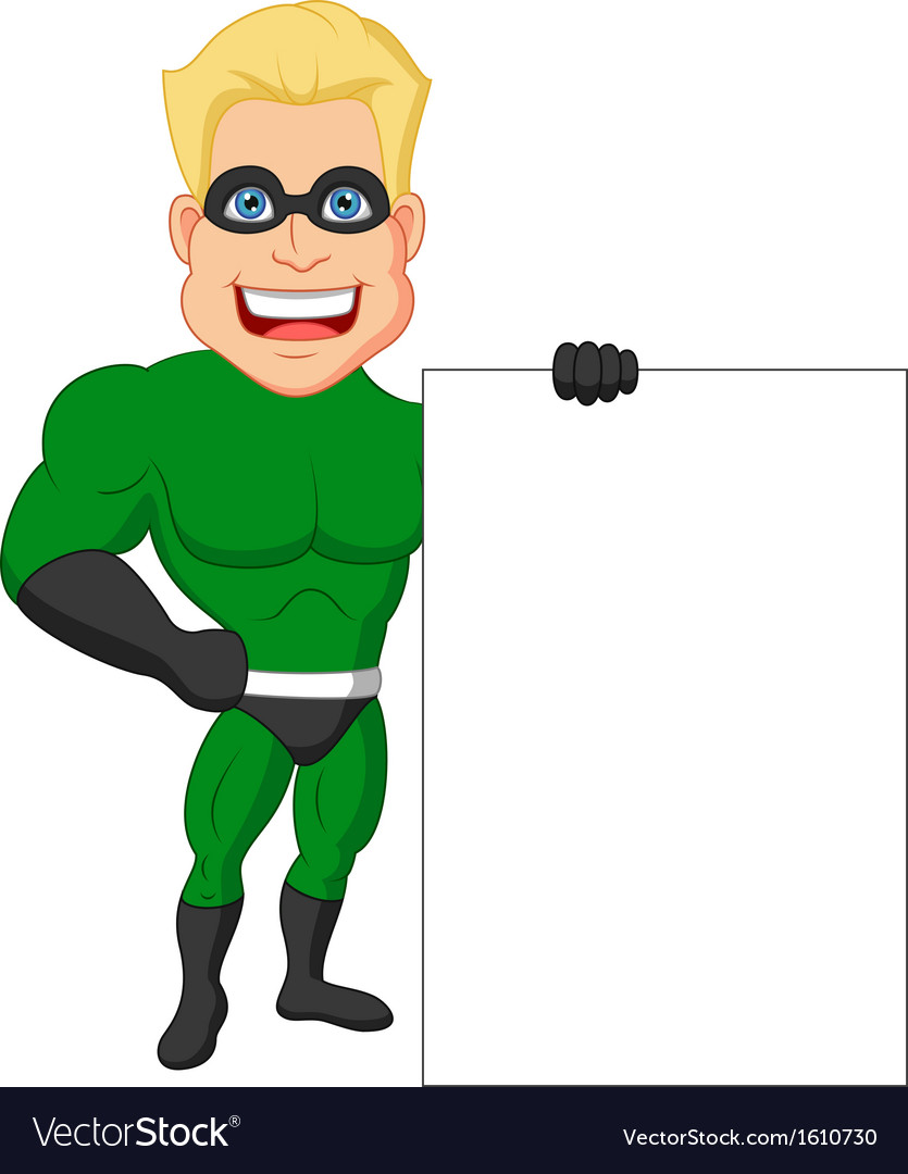 Superhero cartoon with blank sign vector | Price: 1 Credit (USD $1)