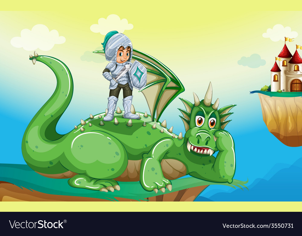 A boy above the dragon vector | Price: 3 Credit (USD $3)