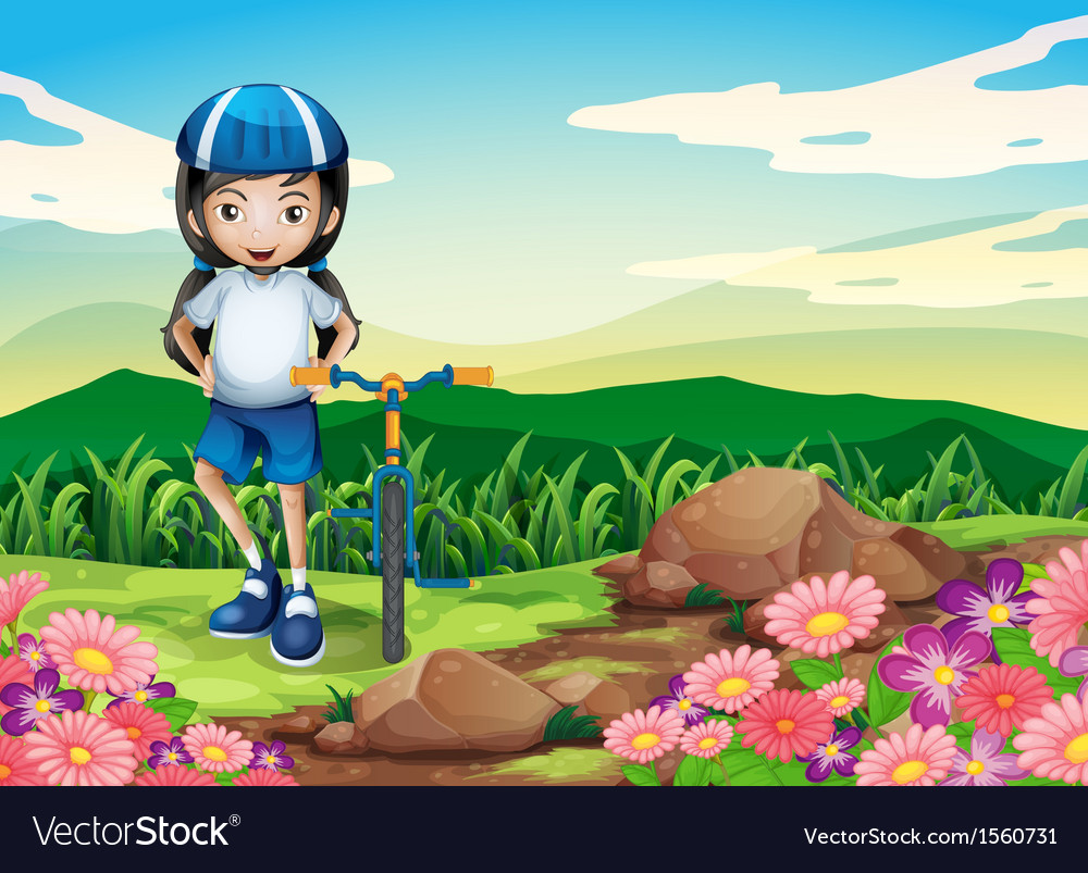 A young girl with a bike standing near the rocky vector | Price: 3 Credit (USD $3)