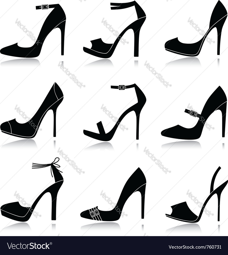 Black shoes icons vector | Price: 1 Credit (USD $1)
