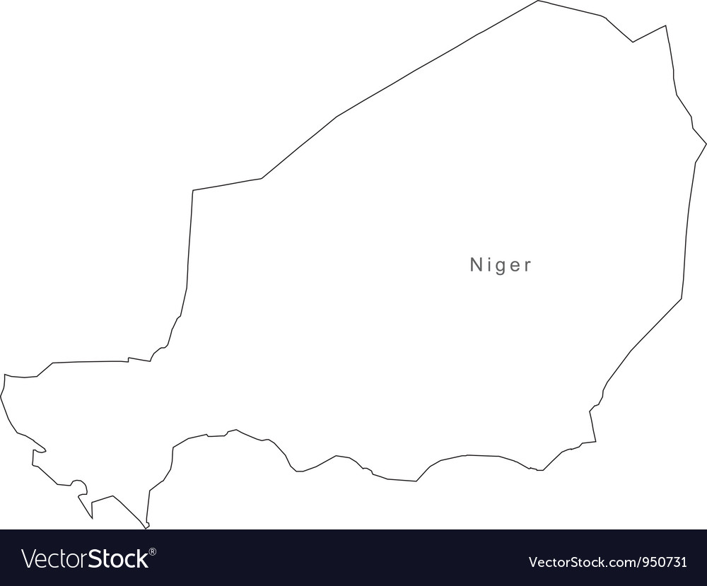 Black white niger outline map vector | Price: 1 Credit (USD $1)