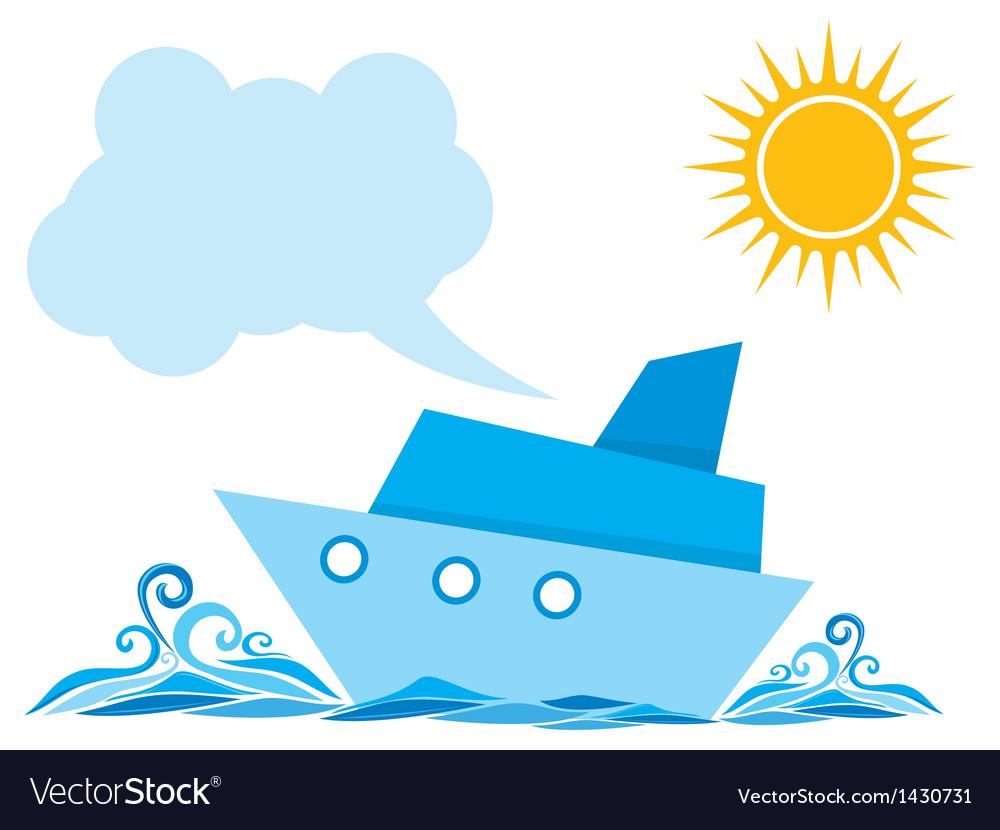 Cartoon ship on the sea vector | Price: 1 Credit (USD $1)