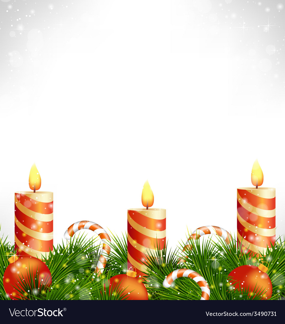Christmas candles with balls candy and pine on vector | Price: 1 Credit (USD $1)