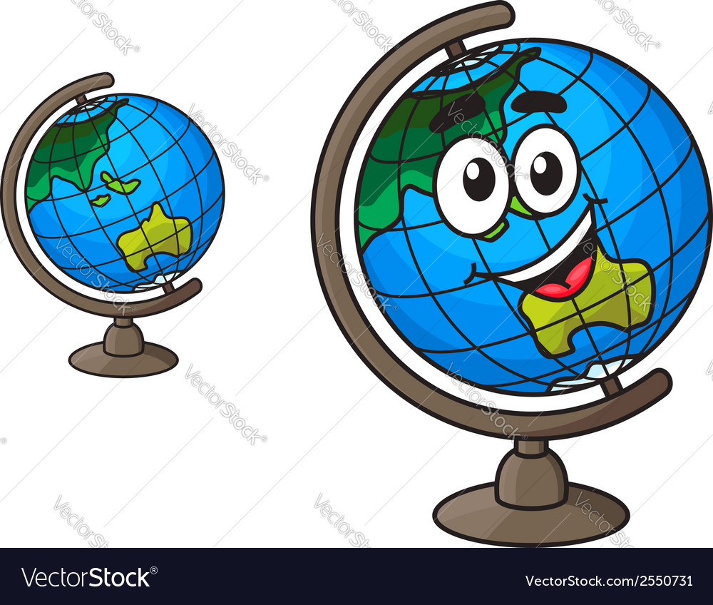 Colorful world globe with a laughing smile vector | Price: 1 Credit (USD $1)
