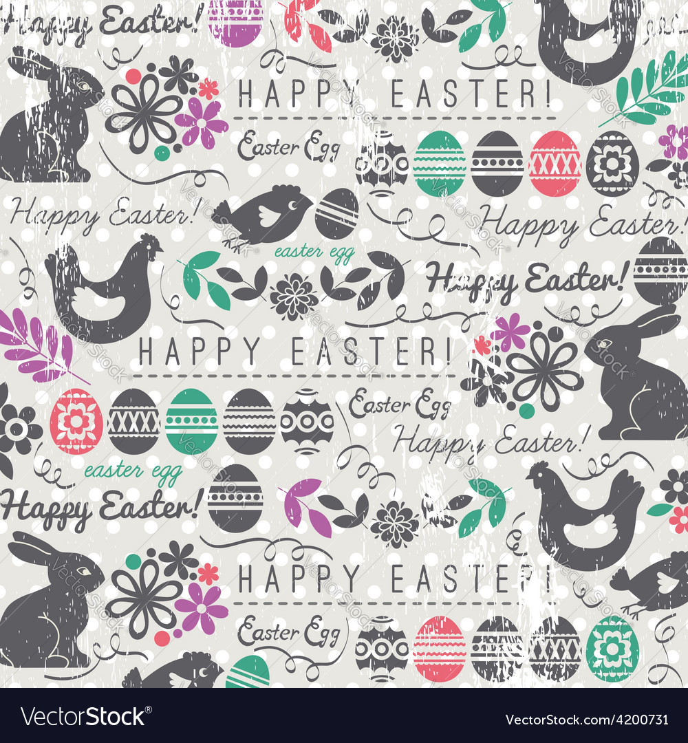 Easter ackground with bunny easter eggs flower vector | Price: 1 Credit (USD $1)