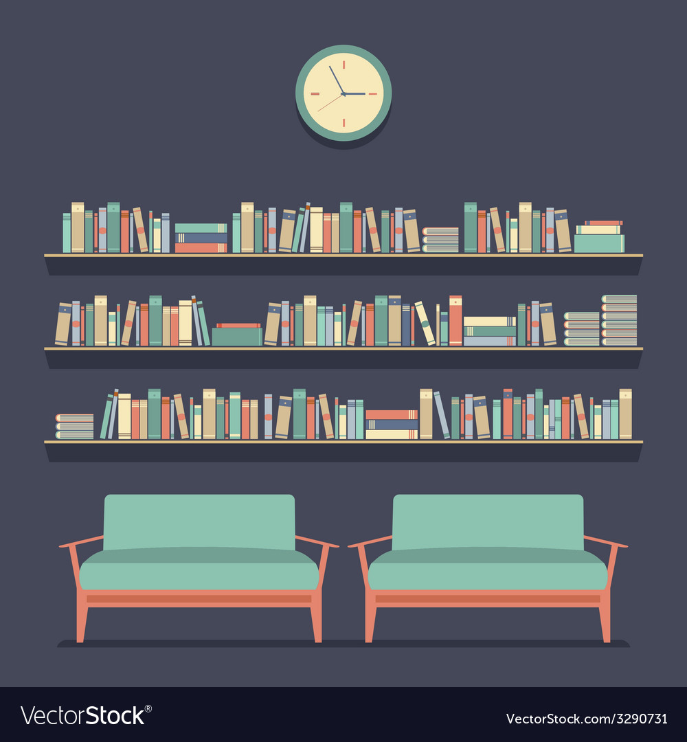 Flat design reading seats and bookshelves vector | Price: 1 Credit (USD $1)