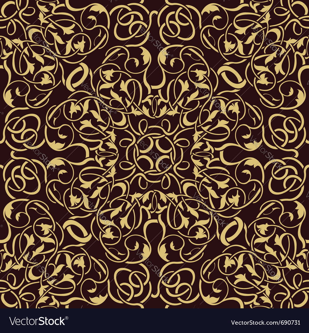 Gold seamless wallpaper vector | Price: 1 Credit (USD $1)