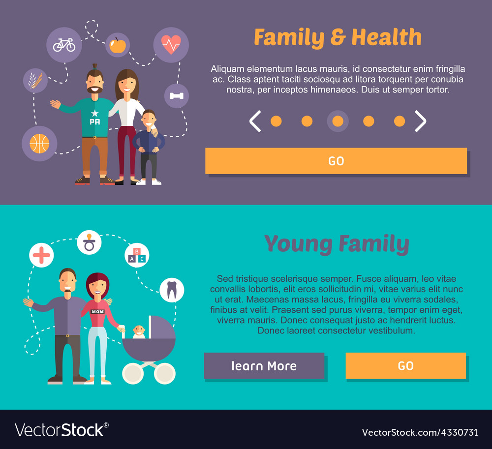Health family and young family flat design concept vector | Price: 1 Credit (USD $1)
