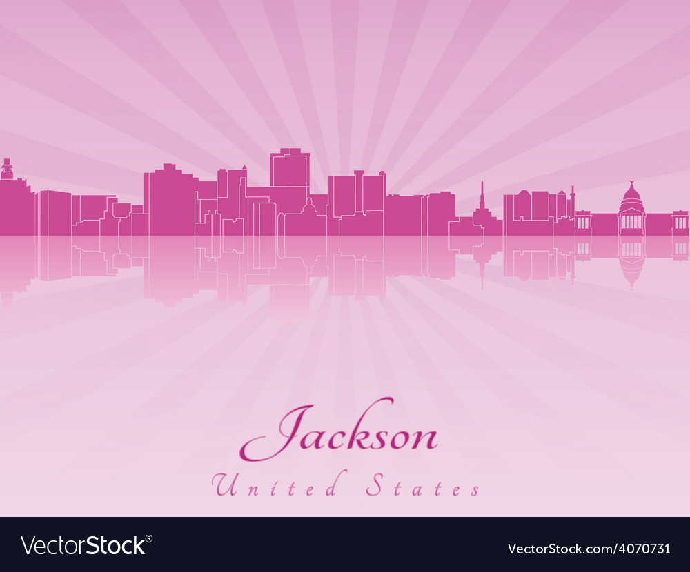 Jackson skyline in purple radiant orchid vector | Price: 1 Credit (USD $1)