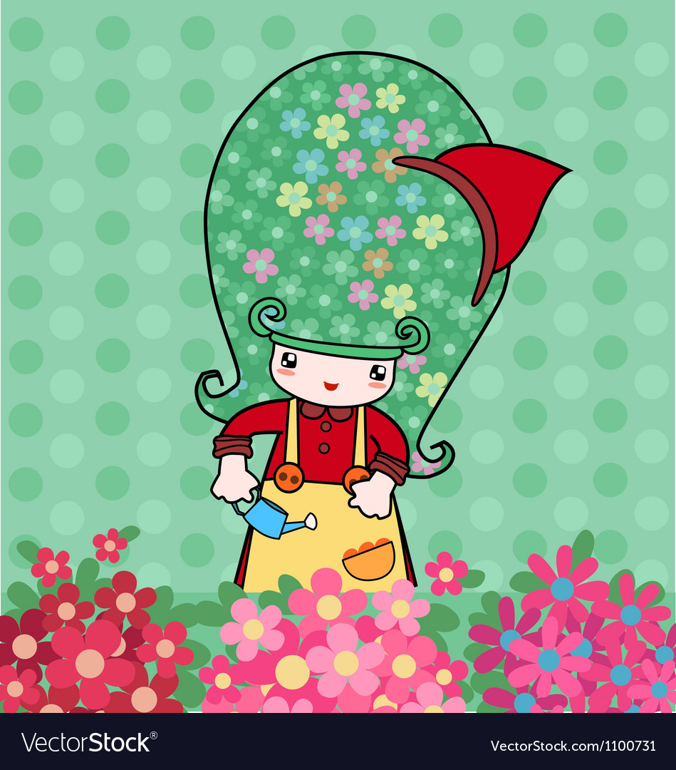 Little florist vector | Price: 1 Credit (USD $1)