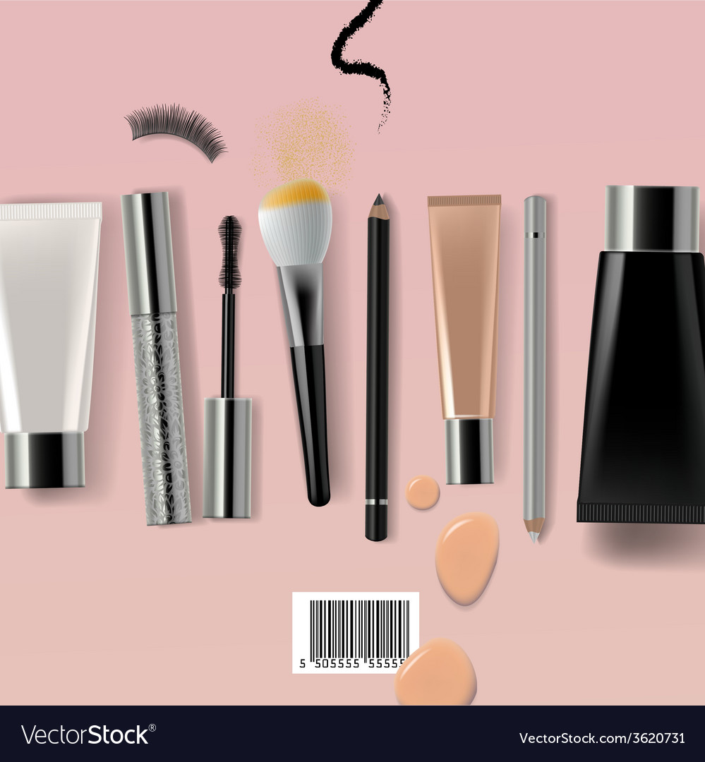 Makeup brush and cosmetics vector | Price: 1 Credit (USD $1)