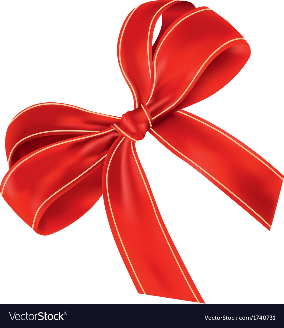 Realistic red bow with light lines vector | Price: 1 Credit (USD $1)
